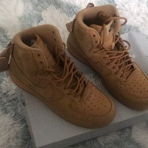 Wheat colored Nike Air Force 1's Hightop.